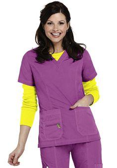 Peaches Doo-Dad neon v-neck scrub top. - Scrubs and Beyond Cute Scrubs, Scrubs Uniform, Brand Me, Scrub Tops, Fashionable Scrubs, Nurse Uniforms, Dads, Uniform Ideas, Peach