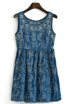 Blue Floral Embroidery Sleeveless Wrap Dress