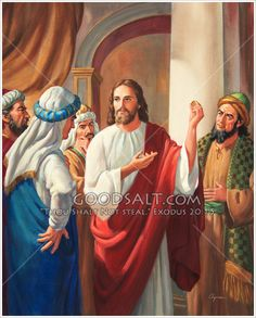 Jesus holds up a coin in discussion regarding tax