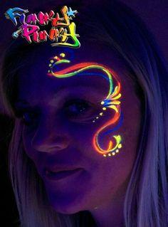 Face Painting Stencils, Face Painting Designs, Paint Designs, Neon Painting, Light Painting, Pintura Facial Neon, Glow Face Paint, Glow Run, Festival Makeup