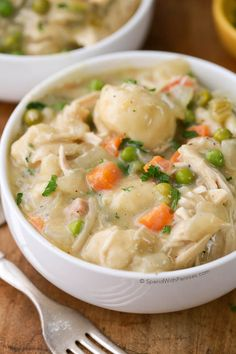 Easy Crock Pot #Chicken and #Dumplings. Juicy chicken breasts cook to tender perfection in the slow cooker in a rich creamy sauce. Shortcut dumplings make this deliciously comforting meal effortless for a family favorite everyone will agree on.