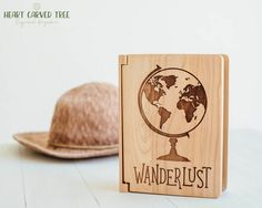Travel Photo Album, Wanderlust Globe 4x6 Photo Album, Wood World Map, Travel Theme, Travel Scrapbook Album, Globe Wedding, Travelling, Maps
