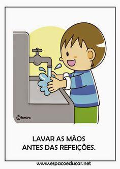 Cartazes ensinando boas maneiras e higiene.
