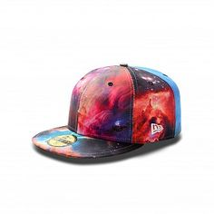 Galaxies Away 59FIFTY  NE-NEGALAXIESPSP12  This custom 59FIFTY® Fitted cap features an allover Galaxy Outer Space print at crown and at visor, stitched New Era® flag at wearer's left side, and bright colorway underside visor. The six panel construction features breathable eyelets. Interior includes branded taping and a moisture absorbing sweatband.