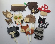 12 Woodland Animal Cupcake Toppers,Forest Friends, Woodland Animals, Cupcake Toppers, Banners, Centerpiece Sticks, Baby Shower, Birthday