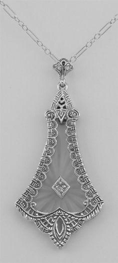 Art Deco Style Sunray Camphor Glass Filigree Diamond Pendant - Sterling Silver #Pendant
