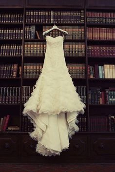 wedding dress and books