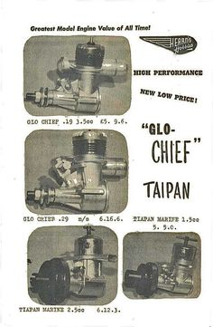 Hearns Hobbies 1963 Catalogue advertising Glo-Chiefs and Taipan marine diesels