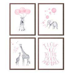 Baby Girl Nursery, Watercolor Nursery Art, Girls Nursery Art, Pink and Gray, Elephant Nursery, Giraffe, Zebra, Quote, Set of Four S412