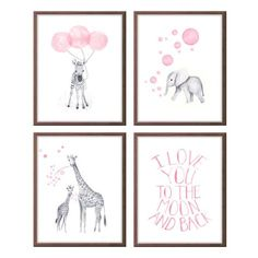 Baby Girl Nursery, Watercolor Nursery Art, Girls Nursery Art, Pink and Gray, Elephant Nursery, Giraffe, Zebra, Quote, Set of Four S412