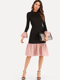 Contrast Ruffle Hem Knit Dress. Mesh DressRuffle DressSequin ... 3bc219e4fc3f