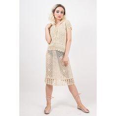 1930s crochet  dress set / Vintage 3 piece skirt camisole and blouse / Antique white cotton lace openwork / S M