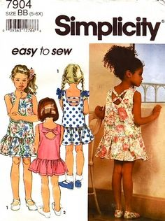 Simplicity Pattern 7904 Easy To Sew -Sweet Girls Sundresses - Three Versions! Complete Size 5-6-6X