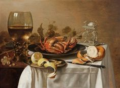 A still life with a roemer, a crab and a peeled lemon Pieter Claesz 1642