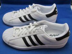 Adidas Mens Boys Superstar 2.0 Black White Shoes Size 10 NWB