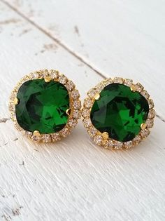 Emerald green Crystal stud earrings Bridal by EldorTinaJewelry | etsy.me/1XG9E8H