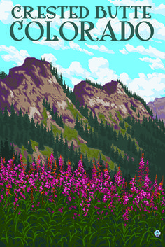 Crested Butte, Colorado - Fireweed and Mountains - Lantern Press Poster