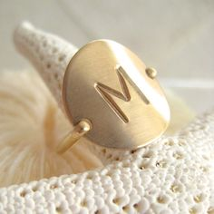 Gold Initial Ring  Hand Stamped & Personalized by onelifejewelry, $40.00