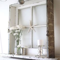 vintage reclaimed old window frame display shelf