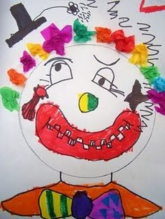 Line verses shape. Circles large, medium and small were used and reinforced.  Texture and the fuzzy feeling of the clown's hair.  Utilizing fine motor skills to crumple up colorful tissue paper.  Portrait drawing, adding facial features and showing expression.