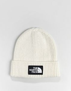 abbc080c7340f The North Face Logo Box Cuffed Beanie Hat in White