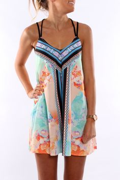 Black strap floral summer mini dress