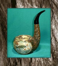 Vintage ceramic figural Wine Decanter Briar Pipe Ashtray Edelweiss Made in Italy
