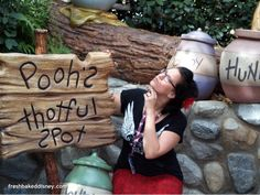 Sara at Pooh's Thoughtful Spot in Critter Country.