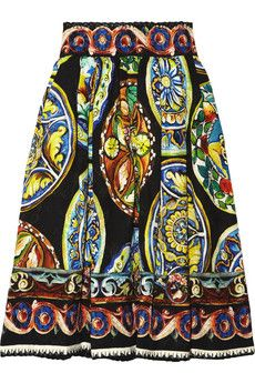 Printed cotton-blend brocade skirt - gorjus with a classic white shirt and black pumps!