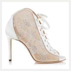 love these satin and lace ivory peep toe lace-up bridal booties!