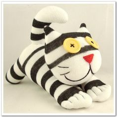 Handmade Sock Cat Kitty Stuffed Animal Doll by supersockmonkeys, $10.99