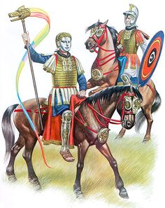Cavalry sports equipment: Dragon standard bearer, c. 200-300 AD & Officer, c. 170-230 AD