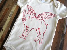 Organic Cotton Onesie - Hand Screen Printed American Apparel Baby Onesie - When Pigs Fly One Piece - Eco Friendly (You pick size). $16.00, via Etsy.