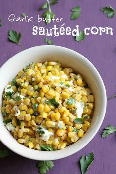 Garlic butter sauteed corn - an easy but interesting side dish! / amuse-your-bouche.com