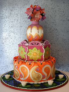 Don't want to get married again, but I love this Indian wedding cake!!!
