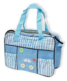 Another great find on #zulily! Blue Stripe Cars Diaper Bag #zulilyfinds