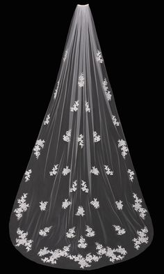 Beautiful! Cathedral Wedding Veil with Beaded Lace Appliques - Affordable Elegance Bridal -