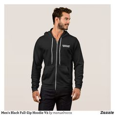 Men's Black Full-Zip Hoodie V2 - Stylish Comfortable And Warm Hooded Sweatshirts By Talented Fashion & Graphic Designers - #sweatshirts #hoodies #mensfashion #apparel #shopping #bargain #sale #outfit #stylish #cool #graphicdesign #trendy #fashion #design #fashiondesign #designer #fashiondesigner #style