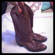 Genuine Snakeskin Cowboy Boots Awesome boots! Men's size 9.5. I'm an 11 women's and these fit me great with room for socks. Worn a few times to a concert truly cute boots. Small wear to snakeskin shown in last picture! Nocona Shoes