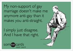 My non-support of gay marriage doesnt make me anymore anti-gay than it makes you anti-straight. I simply just disagree. And I have that right.