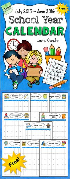 School Year Calendar for 2015 - 2016 - Awesome freebie for subscribers to Candler's Classroom Connections newsletter! Sign up for the newsletter from this page and follow the links in the welcome email to download this free calendar!