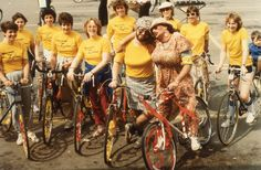 The Ladies Great Ride started in Thamesford, Ontario during the to raise money for women's cancer. After a few years, the event became so popular organizers changed the event to welcome everyone as long as they dressed like women. How To Raise Money, How To Make, Organizers, Ontario, 1960s, Cancer, Oxford, Bicycle, Popular