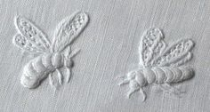 Whitework embroidery - bees This is exactly what I want to do on our white cotton bedding. Whitework embroidery - bees This is exactly what I want to do on our white cotton bedding. Hardanger Embroidery, White Embroidery, Ribbon Embroidery, Cross Stitch Embroidery, Cross Stitches, Embroidery Needles, Embroidery Patterns, Machine Embroidery, Loom Patterns
