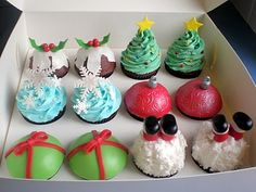 """Christmas cupcakes, love the Santa legs sticking out of """"snow"""" one!"""