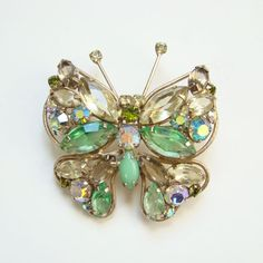 Vintage Green and Citrine Rhinestone Butterfly Pin Brooch Unsigned Framed Wings by redroselady on Etsy