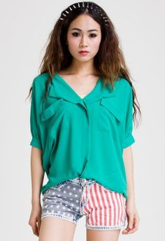 #Chicwish Laidback Artist Short Sleeves in Green