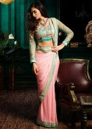 Wedding Wear Pink Georgette Embroidered Work Saree