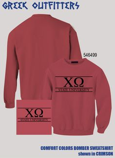 Chi Omega Greek Outfitters Comfort Colors Bomber Sweatshirt #grafcow
