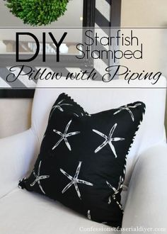 How to make a pilow with piping and a fun DIY fabric idea from Confessions of a Serial Do-it-Yourselfer