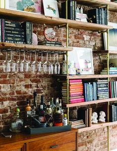 In Tribeca, a Loft that Marries Form & Function, Design*Sponge Bookshelf Bar, Bookshelves, Bedroom Bar, Home Bar Decor, H & M Home, Wall Bar, Farmhouse Design, Apartment Design, Interior Design Inspiration